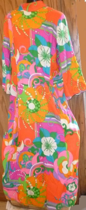 Vtg 60s MOD Saks Fifth Avenue psychedelic abstract colorful long Dress gown