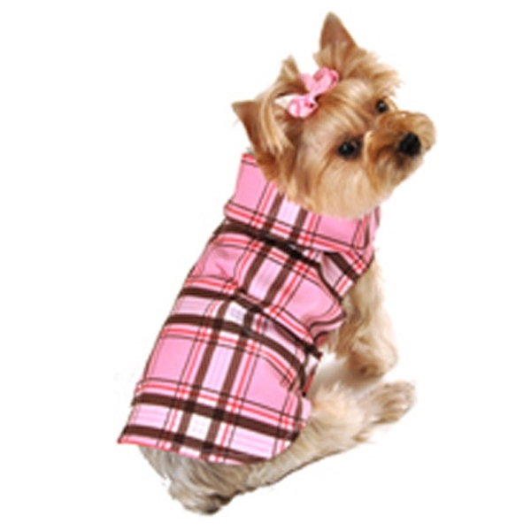 Dog Clothes Plaid Dog Raincoat Pink -Medium- Large