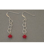 Sterling Swarovski Earrings Hearts Red Handmade - $17.99