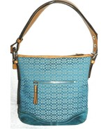 Coach Signature C Mini Duffle Purse Jacquard Teal Silver Hardware