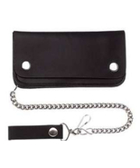 Black Solid Leather Biker / Trucker 6 Inch Wall... - $14.95