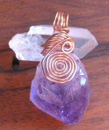 Amethyst Quartz Point Amulet Copper Wire Wrapped