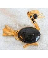 Art Deco 30s Black Rhinestone Goldtone Duck Bro... - $49.95