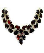 Table-Top Faceted Red Garnet Teardrops Sterling... - $271.68