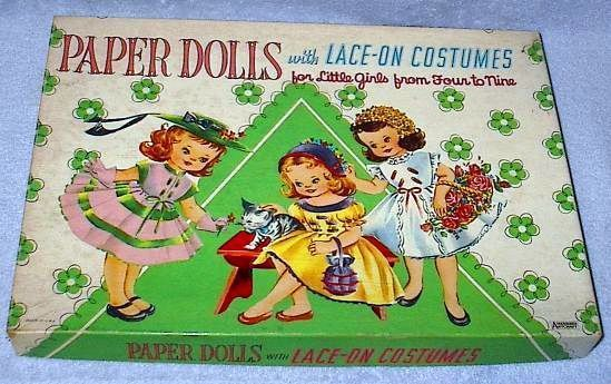 Boxed Paper Dolls with Lace on Costumes Sew Ons complete