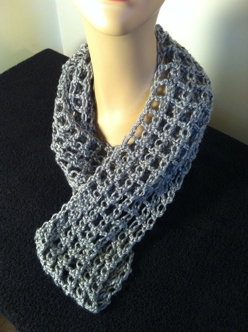 Lacy and Feminine Grey Circular Crochet Scarf