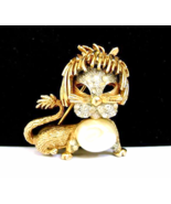 Vintage Lion Leo Brooch Pearl Crystal Rhineston... - $30.00