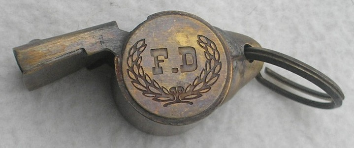 Brass Vintage Style Fire Fireman Firefighter Whistle FD