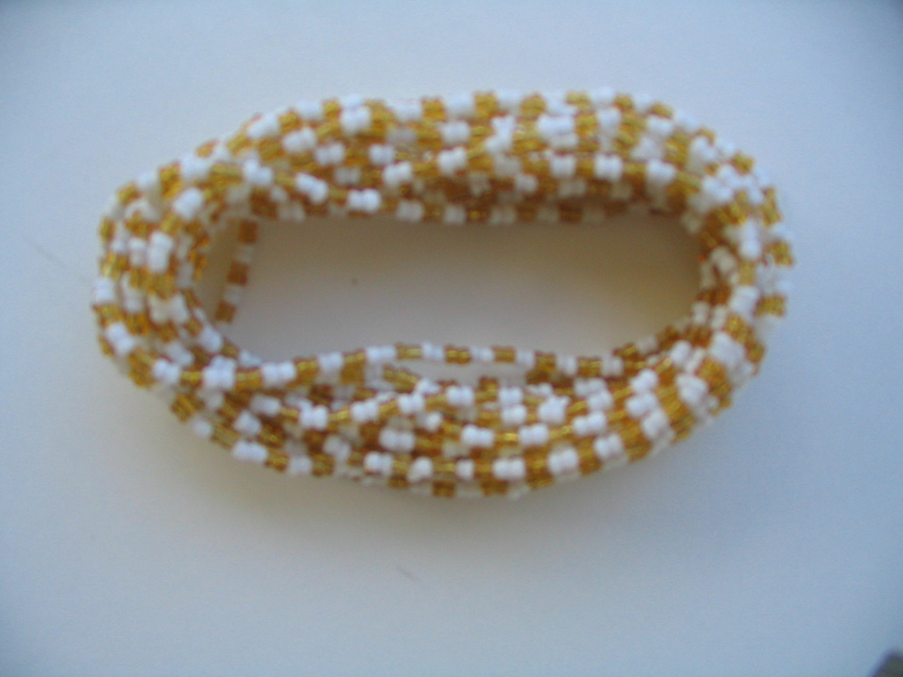 African Jewelry Maasai Masai 3 Strands Yellow and White Bead Necklace Handmade