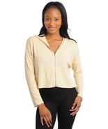 Beige Crop Sweater Longer Back Hoodie Oversized S - $12.00