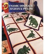 Dynamic Dinosaur Afghan & Pillow Crochet Pattern Annies Attic Cynthia Harris - $13.99