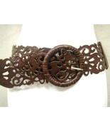 "LADIES SEXY ART BROWN STRETCH BELT FAUX LEATHER BRAIDED BUCKLE 37""-46"""