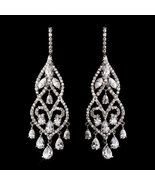 Dramatic Silver Plated Cubic Zirconia CZ Chande... - $93.99