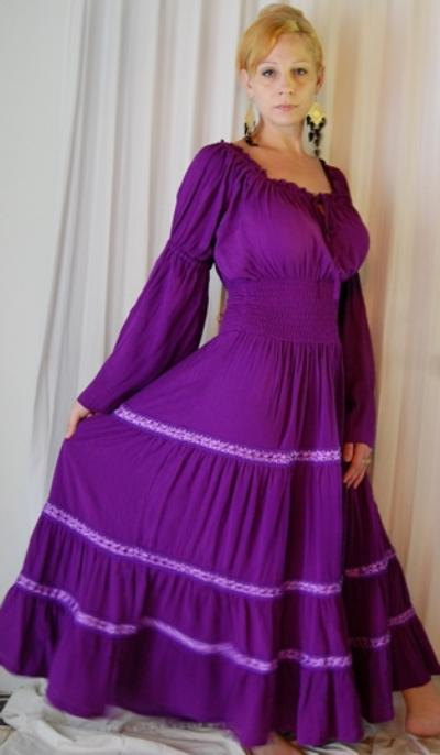 Purple Dress Peasant Smocked Lace Trim MADE 2 ORDER M L XL 1X 2X R806