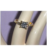 CZ Simulated Diamond Ring Princess Cut 14 KT HG... - $24.97