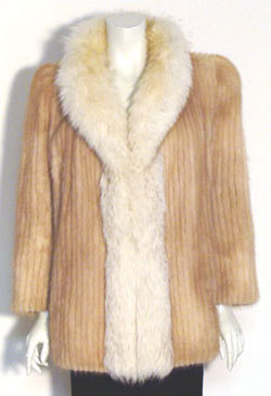 Mink Coat  Vintage 80s  Fur Coat Fox Collar - Coats & Jackets