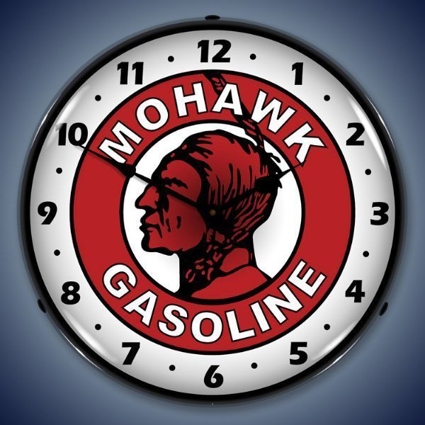 Mohawk Gasoline Vintage Style Lighted Clock