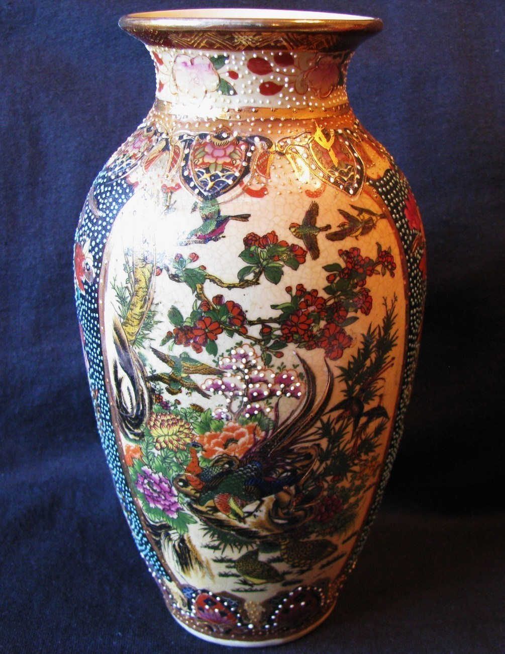 Royal Satsum Replica Vase Flowers Birds 8in