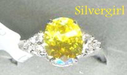 Sterling Silver Genuine Yellow and Clear CZ Ring