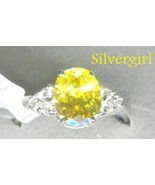 Sterling Silver Genuine Yellow and Clear CZ Ring - $65.99