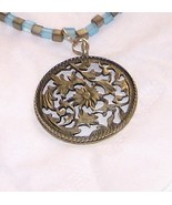 bronze pendant with matte finished sky blue and... - $20.00