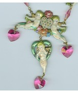 Enameled Hearts Flowers Cupids Swarovski Crysta... - $16.99