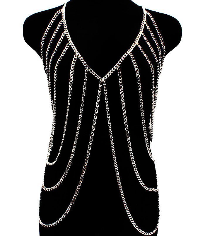 Body Chain Armor Draping Metal Chains Silver Armour Statement Cage Avant Garde