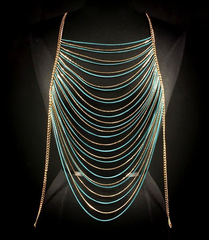 Turquoise Body Chain Armor Gold Draping Chains Armour Statement Cage Avant Garde