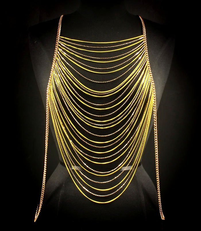 Body Chain Yellow Armor Gold Draping Chains Armour Statement Cage Avant Garde