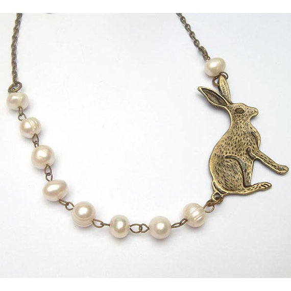 Antiqued Brass Kangaroo Fresh Water Pearl Necklace