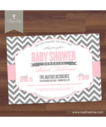 Baby Shower Invitation - Modern Chevron Typography, Boy, Twins - PRINTABLE