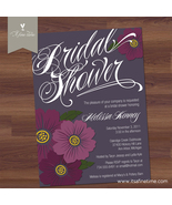 Bridal Shower Invitation - Bold Bloom -Script, Flower, Floral, Purple -Printable
