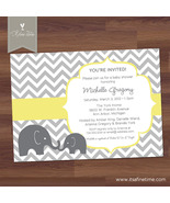 Baby Shower Invitation - Little Elephant, Chevron - Boy, Girl, Twins - Printable