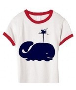 XL Kids Nautical Youth Navy Whale Ringer T Shirt - $14.99