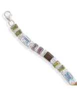 Sterling Silver Link Faceted Multistone Bracelet - $239.95