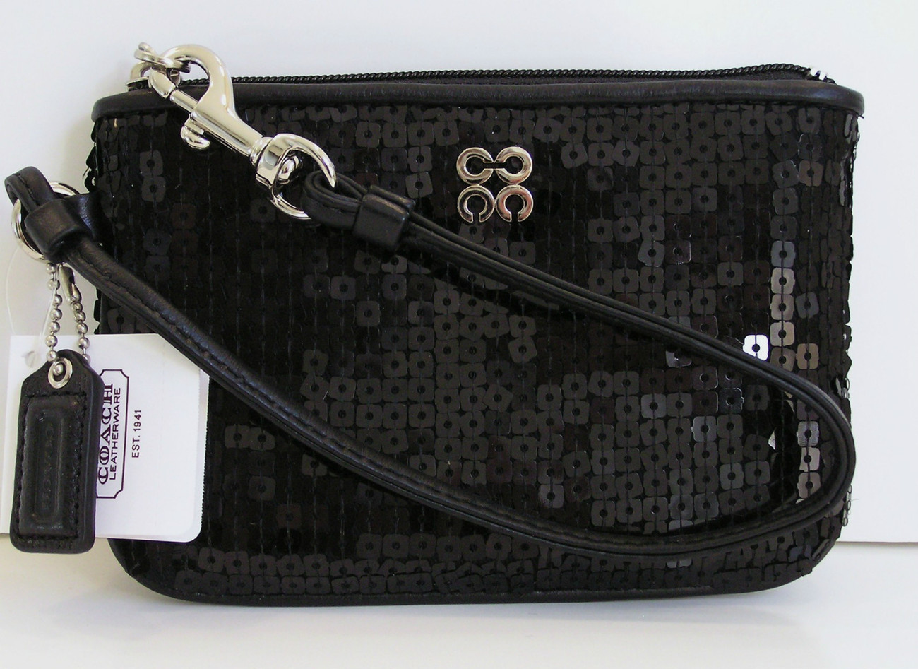 Coach OCCASION BLACK SEQUIN Wristlet Bag 46563 NWT