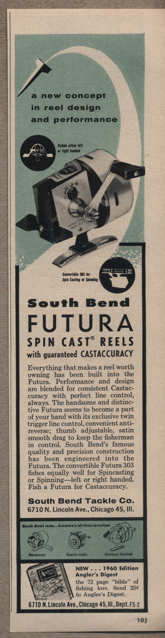 Vintage South Bend Futura 303 Fishing Reel Spin Cast 1960