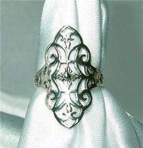 Gorgeous Sterling Silver Filagree Ring Size 6 Bonanza