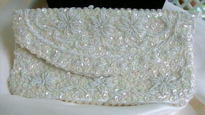Handmade Sparkly Vintage Sequined & Beaded White Clutch Bonanza