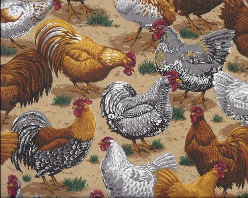 1 Yard Chicken Rooster Print Cotton Quilt Fabric  VIP