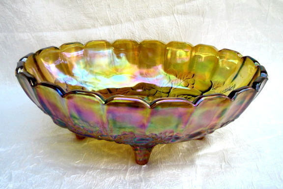Indiana Carnival Glass Fruit Bowl Amber Iridescent