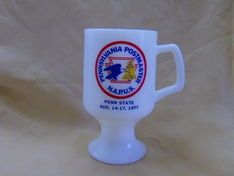 Pennsylvania Postmaster 1977 N.A.P.U.S. MilkGlass Footed Mug
