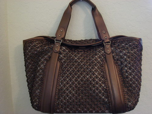 Cole Haan Bronze Leather Sierra Carryall Tote $425++ Bonanza