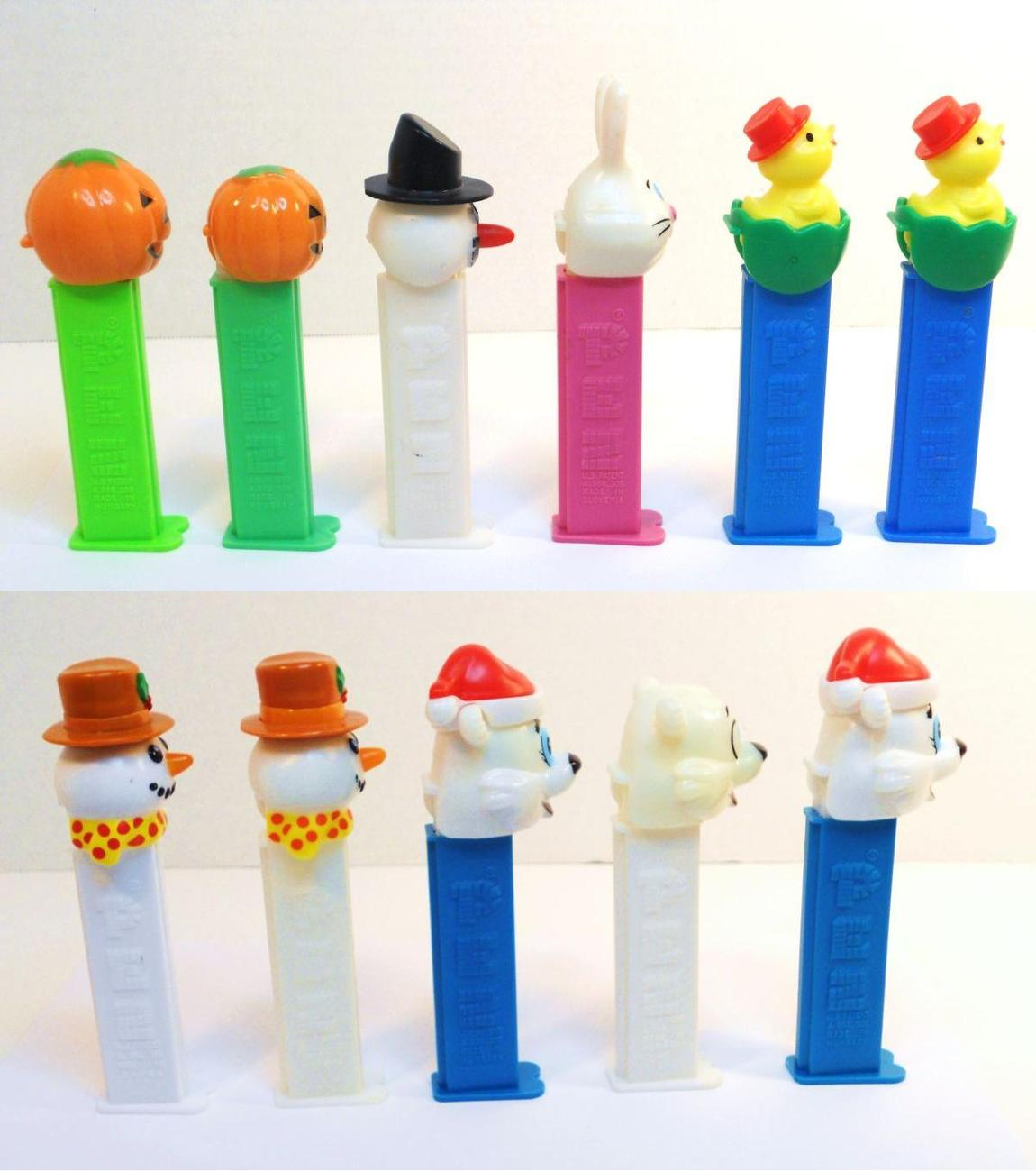 Image 1 of Holiday Pez lot of 12 with Snowman Pumpkin Easter Valentines Polar Bear