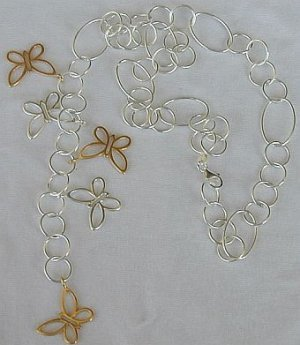 Gold and silver butterfly necklace Bonanza