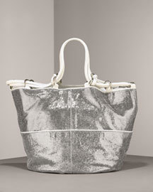 Kooba Silver Stella Metallic Leather Tote $600+ Bonanza