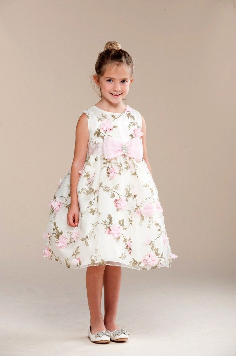 Image 1 of Posh Sweet Ivory Floral Embroidered Flower Girl Party Dress, Crayon Kids USA - 4