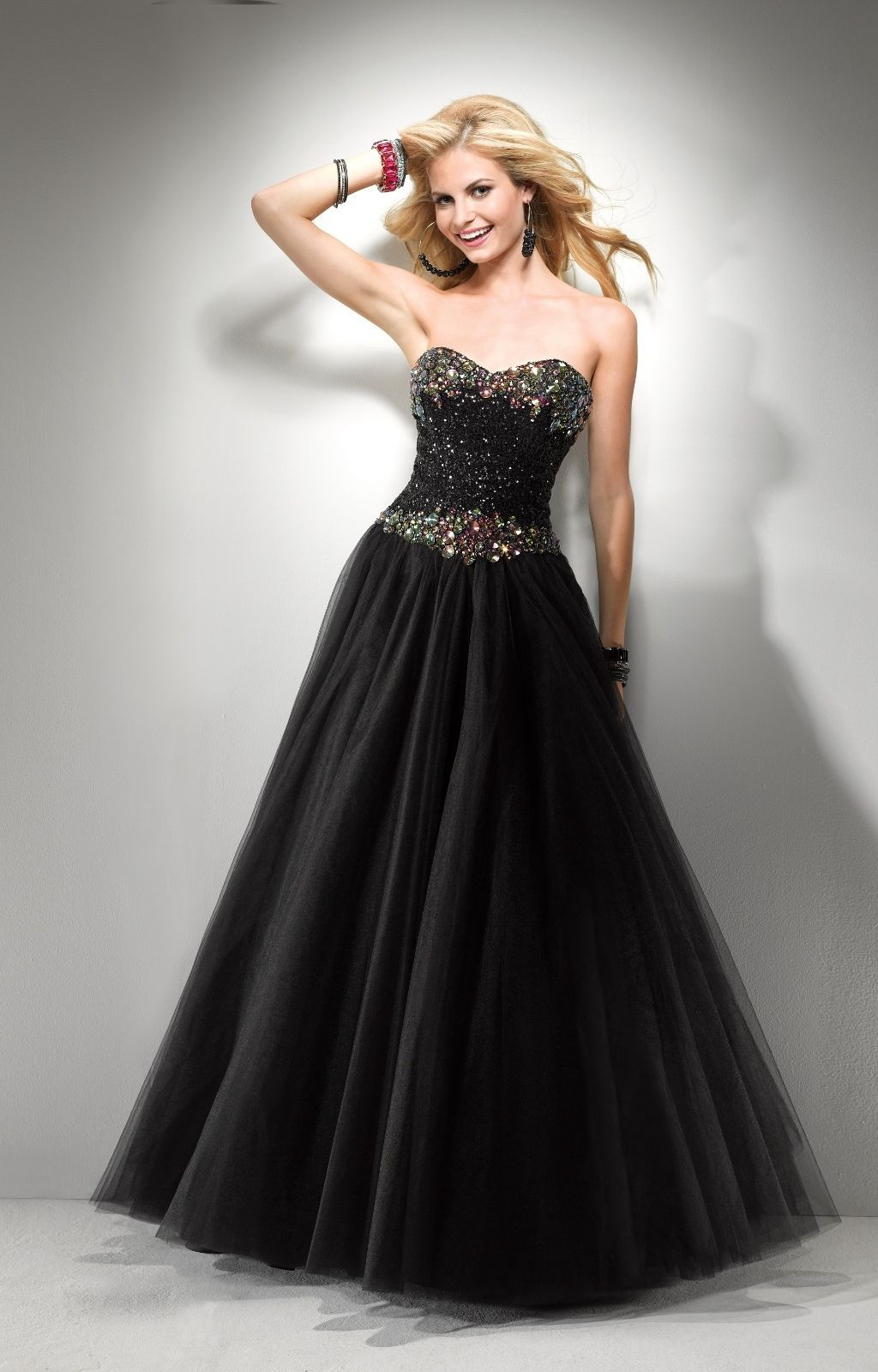 Image 1 of Sexy Strapless Black or Pink Beaded Prom Pageant Evening Gown Dress, Flirt 5794