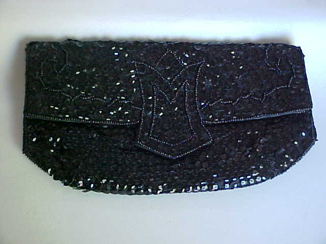 Ladies Black Sequin Evening Bag Purse Clutch