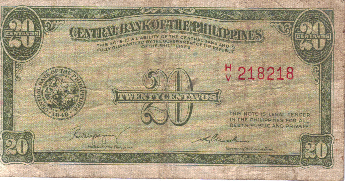 PHILIPPINE Paper Money: CENTRAL BANK PHILS. 1949 20s